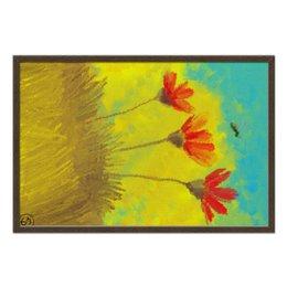 """Холст 50x75 """"Пчела в маках - масло"""" - любовь, цветы, небо, насекомые, живопись"""
