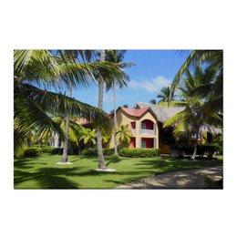 """Холст 50x75 """"""""Доминикана. Тропический сад"""""""" - лето, путешествия, travel, пальмы, доминикана"""