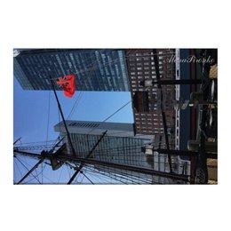 """Холст 50x75 """"Бостон"""" - сша, яхта, небоскребы, гавань, большойгород"""