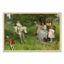"""Холст 50x75 """"Юный всадник (Arthur J.Elsley)"""" - картина, собака, живопись, день матери, артур элсли"""