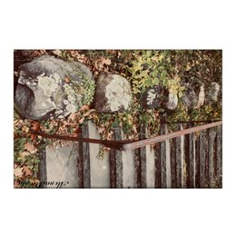 """Холст 50x75 """"Ложится мгла на старые ступени..."""" - осень, лестница, дзен, феншуй"""