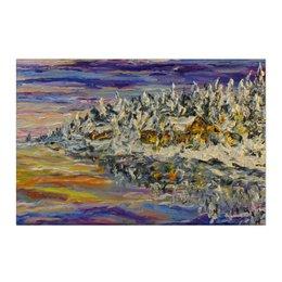 "Холст 50x75 ""Сказка"" - зима, снег, красота, озеро, зимняя"