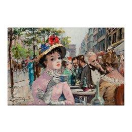 """Холст 50x75 """"Париж и парижанка"""" - импрессионизм, гламур, франция, париж, пин ап"""