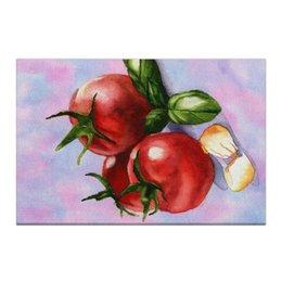 """Холст 50x75 """"Базилик и Томаты"""" - акварель, зеленый, фиолетовый, овощи, красный"""