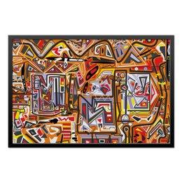 """Холст 50x75 """"Оранжевый дом."""" - арт, узор, абстракция, фигуры, текстура"""