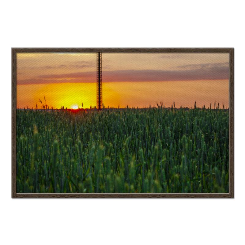 Холст 60x90 Printio Поле пшеницы на закате