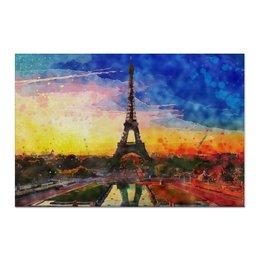 "Холст 60x90 ""Пейзаж акварелью Эйфелева башня"" - акварель, париж, paris, эйфелева башня, купить картину"