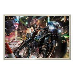 """Холст 60x90 """"Catwoman MOTO"""" - кошка, мотоцикл, байкер, женщина-кошка, dc комиксы"""