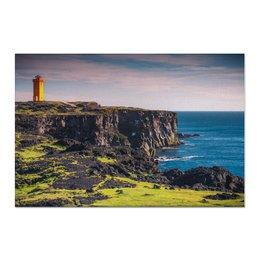 """Холст 60x90 """"Маяк в Исландии"""" - природа, фотография, путешествия, исландия, север"""