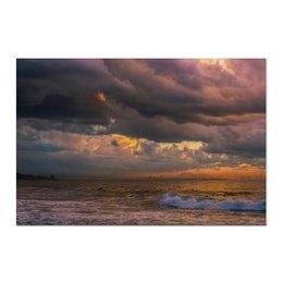 "Холст 60x90 ""Закат после шторма"" - природа, закат, фотография, путешествия, туризм"