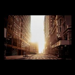 "Холст 60x90 ""утренний урбан"" - утро, солнце, фото, город, урбан"