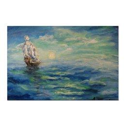 """Холст 60x90 """"Парус"""" - море, закат, парус, украшение, в дом"""