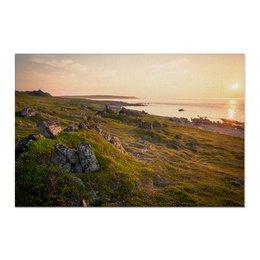 """Холст 60x90 """"Бесконечный закат"""" - природа, закат, фотография, путешествия, север"""