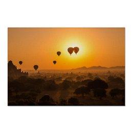 """Холст 60x90 """"Воздушные шары на рассвете"""" - природа, рассвет, фотография, путешествия, туризм"""