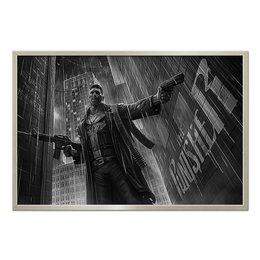 """Холст 60x90 """"The Punisher"""" - оружие, боевик, каратель, с автоматом, киноманам"""