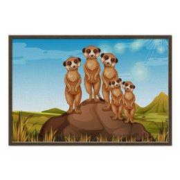 """Холст 60x90 """"Сурикаты"""" - мультик, зверьки, грызуны, любителям животных"""