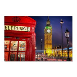 "Холст 60x90 ""London Phone Booth"" - london, лондон, phone booth, телефонная будка, bigben"