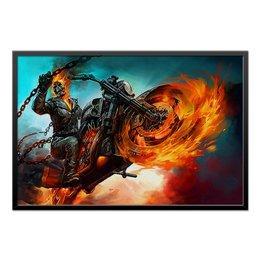 """Холст 60x90 """"Ghost Rider"""" - скелет, фантастика, мотоцикл, байкер, призрачный гонщик"""