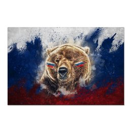 "Холст 60x90 ""Русский Медведь"" - футбол, медведь, россия, флаг, триколор"