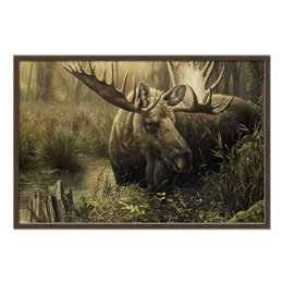 """Холст 60x90 """"Лось в лесу"""" - животные, рисунок, лес, лось, чащоба"""