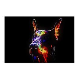 """Холст 60x90 """"Доберман"""" - доберман-пинчер, доберман, живая природа, животное, собака"""