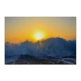 """Холст 60x90 """"Рассвет в Греции."""" - море, рассвет, волны, греция"""