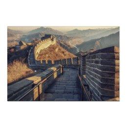 """Холст 60x90 """"Рассвет на Великой Китайской Стене"""" - природа, рассвет, китай, путешествия, туризм"""