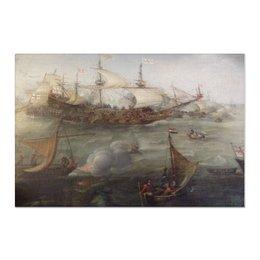 "Холст 60x90 ""Морской бой"" - море, картина, sea, корабли, в кабинет"