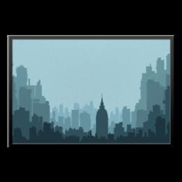 "Холст 60x90 ""Город"" - арт, силуэт, стиль, город, офис, в подарок, креативно, декор"
