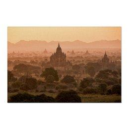 """Холст 60x90 """"Рассвет в древнем городе"""" - природа, рассвет, фотография, путешествия, туризм"""