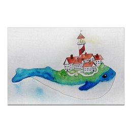 "Холст 60x90 ""Городок на ките"" - рисунок, город, маяк, акварель, кит"