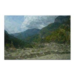 """Холст 60x90 """"Горный пейзаж в полигональной технике"""" - природа, горы, пейзаж, полигональный"""