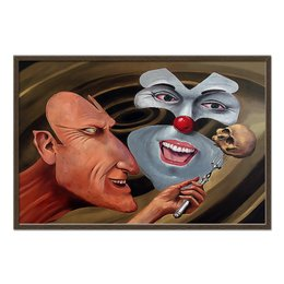 "Холст 60x90 ""Voland&Begemot"" - воланд, бегемот, мастер и маргарита, сатана, череп"