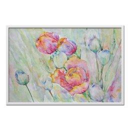 """Холст 60x90 """"Тюльпаны. Весенний день"""" - цветок, импрессионизм, живопись, тюльпан, акварелью"""