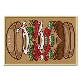 """Холст 60x90 """"BURGER/БУРГЕР"""" - еда, напитки, иллюстрация, бургер, гамбургер"""