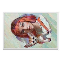 """Холст 60x90 """"Leeloo&Cat"""" - котенок, фантастика, пятый элемент, лилу, мила йовович"""