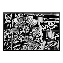 """Холст 60x90 """"с яблоком"""" - арт, узор, белый, черный, абстракция"""