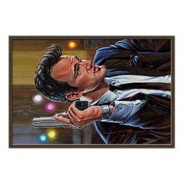 "Холст 60x90 ""Quentin Tarantino"" - портрет, тарантино, квентин, quentin tarantino, с пистолетом"