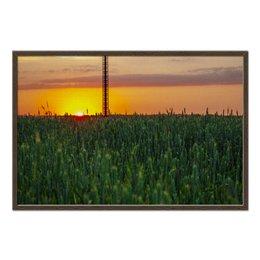 """Холст 60x90 """"Поле пшеницы на закате"""" - россия, природа, закат, пейзаж"""