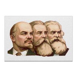 """Холст 60x90 """"Маркс, Энгельс, Ленин"""" - ссср, революция, ussr, ленин, борода, символика, энгельс, плакат, коммунизм, вождь"""