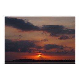 """Холст 60x90 """"ZAKAT"""" - небо, природа, закат, иллюстрация"""
