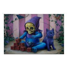 "Холст 60x90 ""Art Horror"" - skull, череп, кот, cat, малыш"