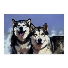 """Холст 60x90 """"Братья маламуты"""" - животные, собаки, лайки, маламуты"""