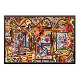 """Холст 60x90 """"Оранжевый дом."""" - арт, узор, абстракция, фигуры, текстура"""