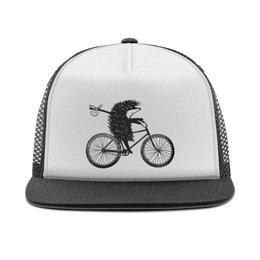 "Кепка тракер с сеткой ""Ежик на велосипеде"" - ежик на велосипеде, ежик, животные, прикол"