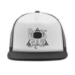 "Кепка тракер с сеткой ""Triponautica cap "" - треугольник, осьминог, скафандр, трипп, трипонавтика"