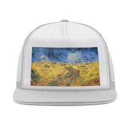 "Кепка тракер с сеткой ""Пшеничное поле с воронами (Ван Гог)"" - картина, природа, ван гог, живопись, постимпрессионизм"
