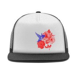 """Кепка тракер с сеткой """"Кепка тракер Колибри и Лилии"""" - бейсболка, подарок, стильно, колибри, лилии"""