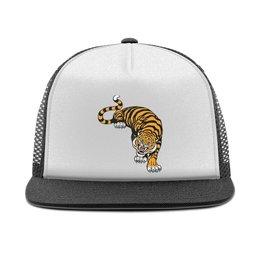 "Кепка тракер с сеткой ""Свирепый тигр"" - тигр, животное"