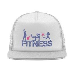 """Кепка тракер с сеткой """"Фитнес"""" - бег, спорт, фитнес, тренировка, кроссфит"""